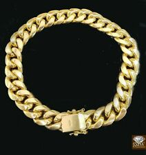 "Real 10k Yellow Gold Miami Cuban Bracelet Box Lock 12mm 8.5"" , Strong Link,Men's"