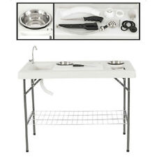 Folding Portable Fish Table Set Hunting Cleaning Cutting Camping Sink Faucet