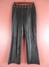LTR0665- CACHE Womens Leather Fashion Dress Pants Black w/ Brown Trim SOFT Sz 6