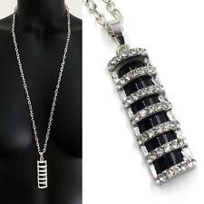 Set XXL Lang Kette + Anhänger Rechteck Kette Halskette Strass Schwarz Silber 170