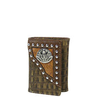 BROWN SKULL CROCODILE LEATHERETTE LOOK TRIFOLD WALLET ID HOLDER WESTERN COUNTRY