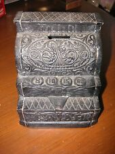 """Vintage Cast Iron Cash Register Coin Bank 4.5""""h  AS/IS COND SEE PHOTOS."""