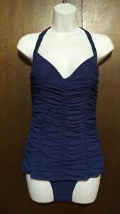 Diva by Rachel Pappo Sz 12 Navy Blue Ruche Pushup Retro Style Bathing Swim Suit