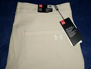 Men's UNDER ARMOURGOLF golf shorts size 36 Stone Beige Polyester New $65.00