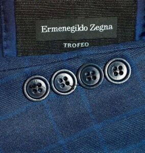 42R Ermenegildo Zegna CURRENT Trofeo Blue Check Plaid Sport Coat Blazer Jacket