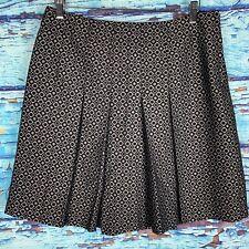 Club Monaco Black Silver Geometric Pleated Skirt Women's Size 8