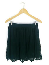 FOREVER 21 Skirt- Vintage Style Dark Green Embroidered Net Lace Stretch- L/10/12