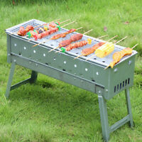 BBQ Barbecue Grill Folding Portable Charcoal Stove Camping Smoker Standgrill