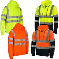Kapton Hi Vis Zip Hoody Plain Reflective Workwear Safety Security Top Sweatshirt