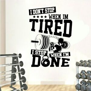 Inspirational Gym Quote Wall Decals Fitness Bodybuilding Crossfit Vinyl Sticker