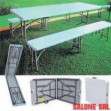 Set birreria struttura in acciaio tavolo e 2 panche in polietilene HDPE ripieghe