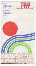 TAP AIR PORTUGAL TIMETABLE SUMMER 1976 HORARIO TP