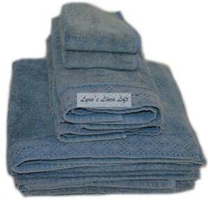 RACHEL ASHWELL COUTURE Towel Set  6P ANNABELLE LEVI BLUE CROCHET SHABBY CHIC
