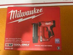 Milwaukee 2540-20 M12 12V 23 Gauge Compact Cordless Pin Nailer - Bare Tool
