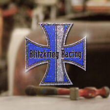 Blitzkrieg Racing Iron Cross Sticker Aufkleber Glitter Metalflake blau 70mm