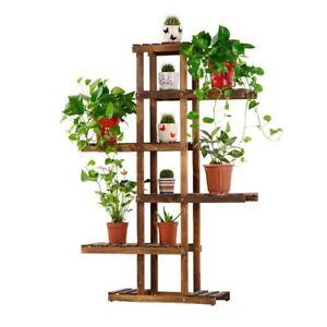 Wooden Plant Stand 6 Tiers Indoor Outdoor Garden Planter Flower Pot Stand