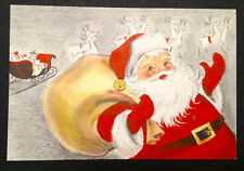 Santa Claus Reindeer Sleigh Vintage Mid-Century Xmas Card Hallmark