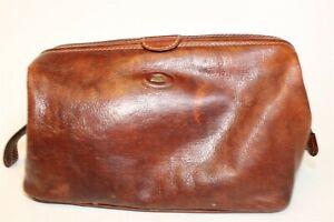 The Bridge Brown Leather Zip Top Toiletry Case Dopp Kit Travel Bag