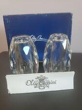 Oleg Cassini Cut faceted Crystal Salt and Pepper Shakers set W/box New
