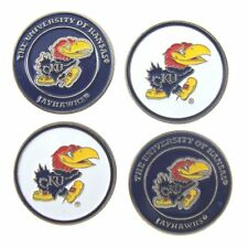 "Kansas Jayhawks Golf Ball Markers ""New"" 4 Pack Special ""Go Jayhawks"""