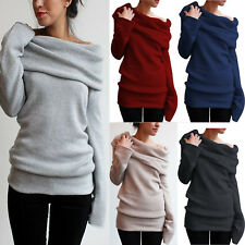 Damen Schulterfrei Pullover Pulli Strickjacke Sweater Sweatshirt Oberteile Tops