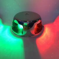 12V LED BI-COLOUR CHROME NAVIGATION BOW LIGHT,Boat Port&Starboard Deck Nav Light