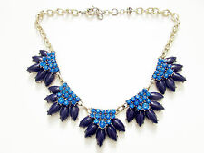 Beautiful deep purple beads w/ royal blue crystals rhinestone statement necklace