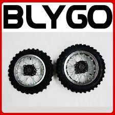 "SILVER 10"" Inch Front + Rear Wheel Rim +Knobby Tyre Tire PIT PRO Trail Dirt Bike"