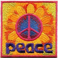 Peace sign hippie boho retro flower love hippy applique iron-on patch G-112
