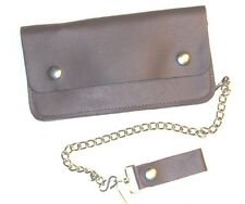 8 inch Leather Trucker Wallet with Chain - Brown - USA Made