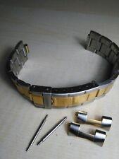 Cinturino acciaio 20 mm acciaio bicolor seiko citizen orient rolex bracelet new