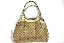 Authentic Gucci Sukey Monogram Leather Canvas Shoulder Handbag Bag GG EUC