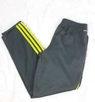 Adidas Boy's Tricot Jogger Pants Grey Lime Green L 14/16
