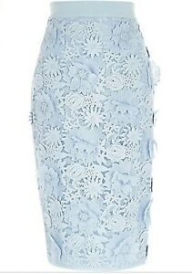 River Island Ladies 8 Skirt Light Blue 3D Flower Lace Pencil High Waisted RRP£65