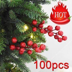 Lot De 12 Artificiel Vert Holly /& Baie Rouge Picks 20 cm Tall-Noël