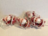 Vintage Miniature Flocked Santa Claus Christmas Craft Picks Ornaments Set of 4