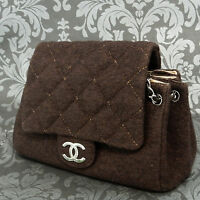 Rise-on Vintage CHANEL Tweed Dark Brown Leather Shoulder Bag Handbag #1776