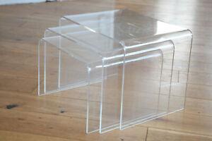 3er set 60er 70ER Plexiglas Acryl  Side Coffee table Beistelltisch