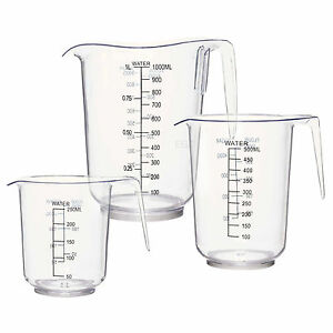 3 Sizes Measuring Jug Clear Plastic Baking Kitchen Set Flour Sugar Water
