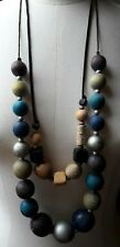 Duo Of Big Eclectic Bead Necklaces/Blue/Brown/Glass Effect/Hippy/Boho/Up cycle?