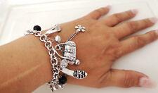 Gorgeous chunky silver tone T bar charm & bead bracelet - NEW