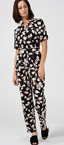 Kim & Co Printed Brazil Jersey Short Sleeve Jumpsuit, S, Black/Taupe, BNWT