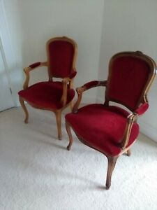 Pair of regency antique style chairs with red upholstered seats