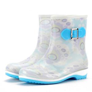 Women Bow Waterproof Rubber PVC Anti-Slip Work Garden Mid-Calf Rain Boots Shoes