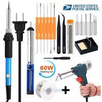 Electric Soldering Iron Gun Tool Kit 110V 60W Welding Desoldering Pump Tool Set