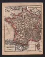 Landkarte map 1864: Kaisertum FRANKREICH. Paris Toulouse Marseille