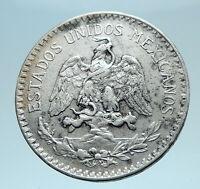 1935 MEXICO City Silver 50 Centavos Mexican Coin EAGLE CACTUS SERPENT i78343