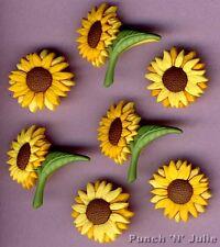 FALL BLOOMS Flower Sunflower Summer Garden Novelty Dress It Up Craft Buttons