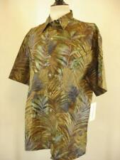 Men's M Vtg 1990's Tori Richard Hawaiian Shirt Cotton Lawn NWT Amazon Taupe USA