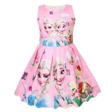 New Girls Frozen Princess Dress Kids Party Birthday Dress Costume Gift
